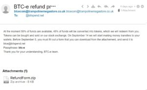 BTC-e Refund Scam Email